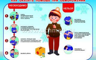 Краткий список оказания первой помощи при обморожении